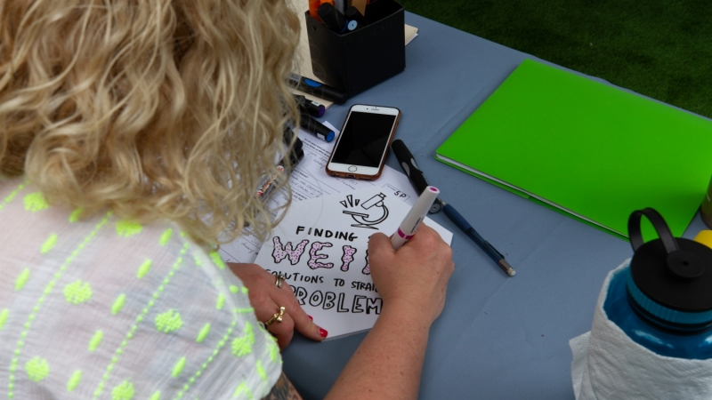 popup pop-up graphic facilitation recording scribing storytelling prompt ask questions scribe answers listening